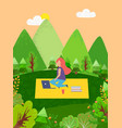 freelancer working in forest mountains park vector image vector image