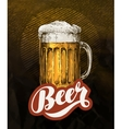 Fresh craft beer in glass mug Vintage poster for vector image