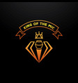 golden king of the mic badge design with crown vector image vector image