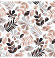 gray and rose gold leaves seamless pattern vector image
