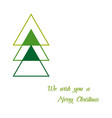 greeting card on christmas christmas tree in line vector image vector image