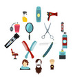 hairdressing set flat icons vector image vector image