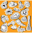 halloween doodle stickers vector image vector image
