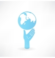 Hand and globe icon vector image vector image