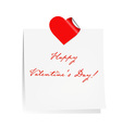 Happy Valentines Day Blank Note Paper vector image vector image