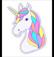 head of hand drawn unicorn vector image vector image