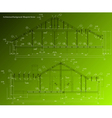 House facade on green background blueprint vector image vector image