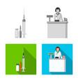 isolated object of pharmacy and hospital logo set vector image