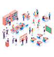 isometric school childrens and teacher in vector image vector image