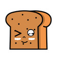 kawaii cute funny slice bread food vector image vector image