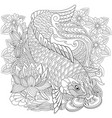 koi carp adult coloring page vector image