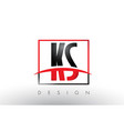 ks k s logo letters with red and black colors and vector image vector image