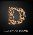 letter d logo gold-silver dots alphabet logotype vector image