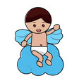 love cupid sitting in cloud cartoon vector image vector image