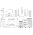 new york line icon elements vector image vector image