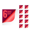 number days left tags in page curl style vector image