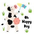 oh happy day cards with a cute cow catches vector image