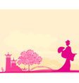 old paper with geisha and Asian Landscape vector image