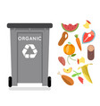 organic recycling garbage can trash isolated flat vector image