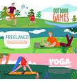 park rest horizontal banners set vector image vector image
