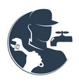 plumber with a wrench vector image vector image