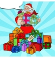 Pop Art Santa Claus with Christmas Gifts vector image vector image