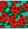 red hibiscus syriacus - rose sharon on green vector image vector image