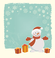 Retro Christmas card with snowman vector image vector image