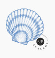 scallop hand drawn seafood engraved style vector image vector image