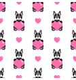 seamless pattern with cute bulldogs and hearts vector image vector image