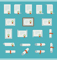 set of certificate thin line icons vector image vector image