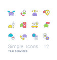 set simple line icons taxi services vector image vector image