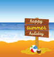 signboard on the beach color vector image vector image