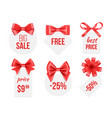 tags with ribbons promo badges with red vector image vector image