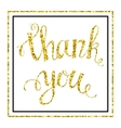 Thank you Gold glittering lettering vector image vector image