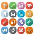 Trendy flat medical icons with shadow vector image vector image