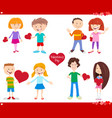valentines day holiday cartoon love set vector image