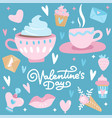 valentines day set with love elements heart vector image vector image