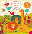 Various Animals on colorful background vector image