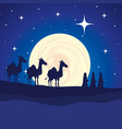 wise kings in camels manger characters vector image vector image
