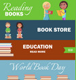world book day education and bookstore banners vector image vector image