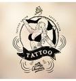 Tattoo girl old school studio skull vector image