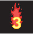 flaming number three vector image