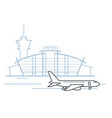 airport terminal building front view and airplane vector image