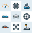 auto colorful outline icons set collection of vector image