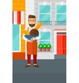 Bakery owner with bread vector image vector image