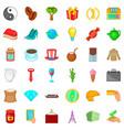 bean icons set cartoon style vector image vector image