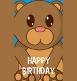 bear cute birthday card vector image vector image
