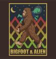 bigfoot and alien retro vector image