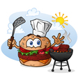 Burger Chef Grilling Cartoon Character vector image vector image